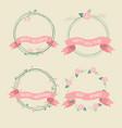 rose hip retro christmas ribbon wreath collection vector image