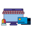 screen with tent and credit card isolated icon vector image vector image