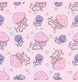 sea pattern purple jellyfish color vector image vector image