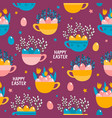 seamless pattern with cups of flowers and vector image vector image