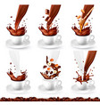 set coffee and cappucino with different vector image