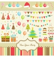 Set of new year party elements vector | Price: 1 Credit (USD $1)