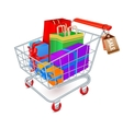 Shopping cart full emblem vector image