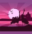 silhouette of birds sunset vector image vector image