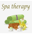 Spa still life icons with water lily and zen stone vector image vector image