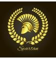 Spartan helmet in profile logo vector image