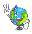 two finger globe character cartoon style vector image