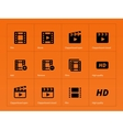 video icons on orange background vector image vector image