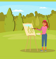 woman painting green park flat vector image