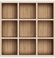 wooden empty bookshelf or tool box shelves for vector image