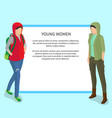 young women poster with place for text vector image vector image