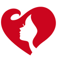 female silhouette red heart vector image