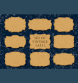 set of 9 leather labels on a jeans background vector image