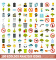 100 ecology analysis icons set flat style vector image vector image