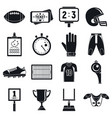 american football icons set simple style vector image