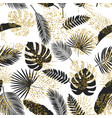black and golden tropical leaves seamless vector image vector image