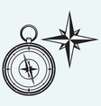 Black wind rose and compass vector image vector image