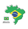 brazil map and flag modern simple line cartoon vector image vector image