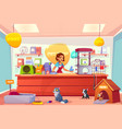 buying animals in pet store cartoon concept vector image