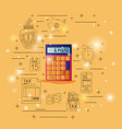 calculator device with financial set icons vector image