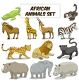 Cartoon african savannah animals set vector image