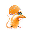 cartoon orange cute rat isolated vector image vector image