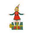 christmas elf character sitting on gift box cute vector image vector image
