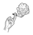 cigarette in hand sketch vector image