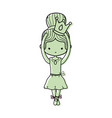 color girl dancing ballet with crown design vector image
