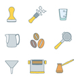 color outline coffee barista instruments icons set vector image vector image