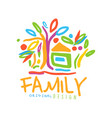 colorful logo for family business with house and vector image