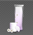 cotton pads blank bag and blossom flower vector image vector image