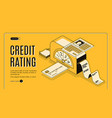 credit rating scoring isometric website vector image vector image