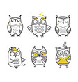 cute hand drawn owls set vector image vector image