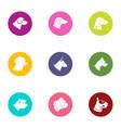dog hunter icons set flat style vector image vector image