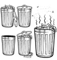 Doodle trash can cans garbage rubbish vector image