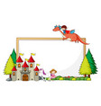 empty banner with castle and a boy riding dragon vector image vector image