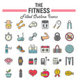 fitness filled outline icon set sport signs vector image vector image