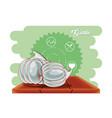 fresh garlic healthy food vector image