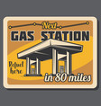 gas station and fuel pump retro banner vector image