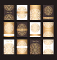 golden invitations set vector image vector image