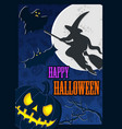 halloween poster with moon and scary flying witch vector image vector image