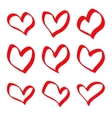 hand drawn red hearts vector image vector image