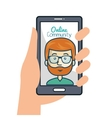 hand holding smartphone online community graphic vector image