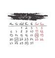 Handdrawn calendar July 2015 vector image vector image