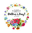 happy mothers day card with round flowers frame vector image vector image