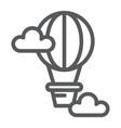 hot air balloon line icon airship and travel vector image