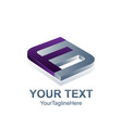 initial letter f logo template colored purple vector image vector image