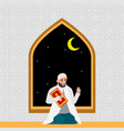 islamic man in white robe with karan at night vector image vector image