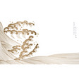 japanese hand drawn wave background with gold vector image